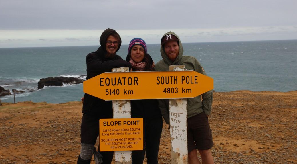 Die drei Beiden am südlichsten Punkt der Südinsel.