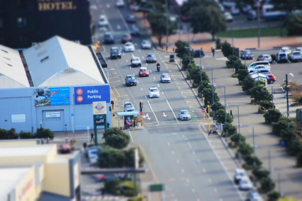 Autos in Wellington. Hab den Miniatureffekt meiner Kamera draufgeschmissen.