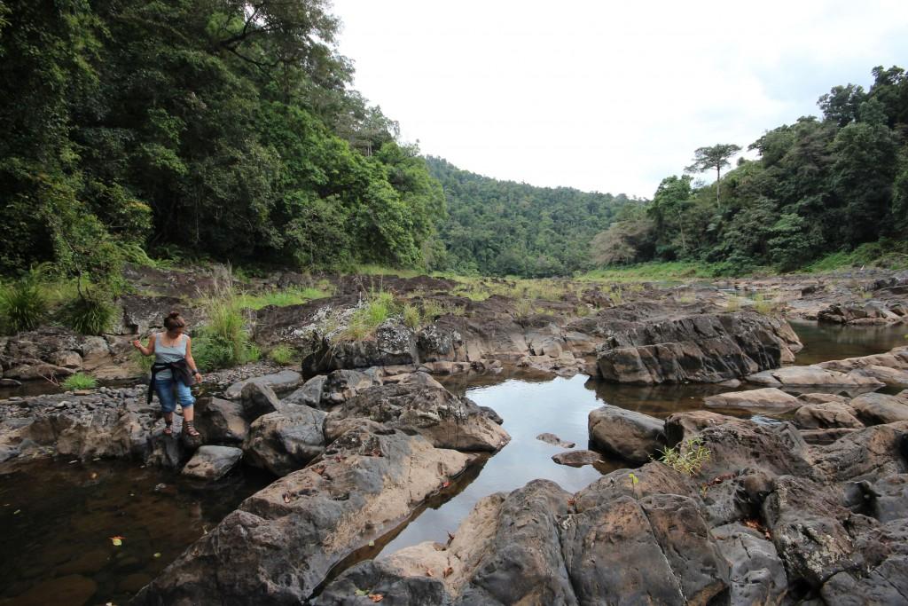 Fluss und Steine.